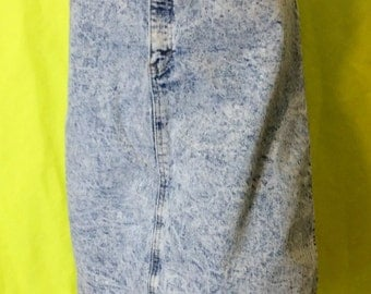 1980s Jack Mulqueen Acid Wash Denim Skirt, L
