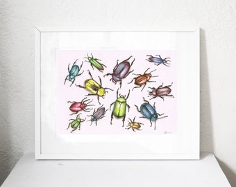 Colourful beetle / beetles watercolour artprint printed on giclee paper with archival inks
