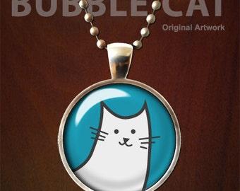 Cat Necklace, Bubble Cat Pendant  with Chain