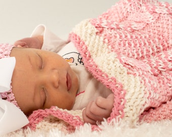 Pink and White Baby Blanket, Hand Knit Baby Cocoon, Cable Knit, 100% Cotton, with Hand Embroidery, baby girl gift - 157