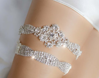 Bling Rhinestone Garter Set, Silver Bridal Garter, Rhinestone Garter, Keepsake Garter Set, Toss Garter- TILER GARTER SET
