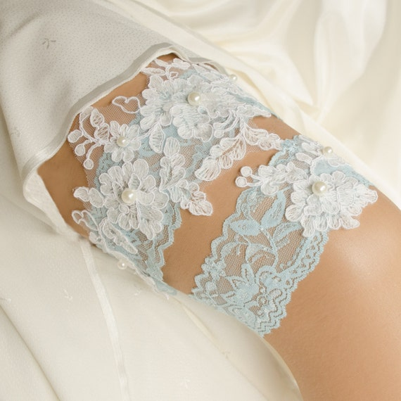 Something Blue Wedding Garter Blue Lace Pearl Garter Navy