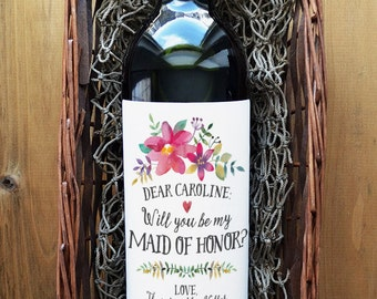 Will you be my Maid of Honor Label - Maid of Honor Wine Label - Will you be my Maid of Honor Wine Label
