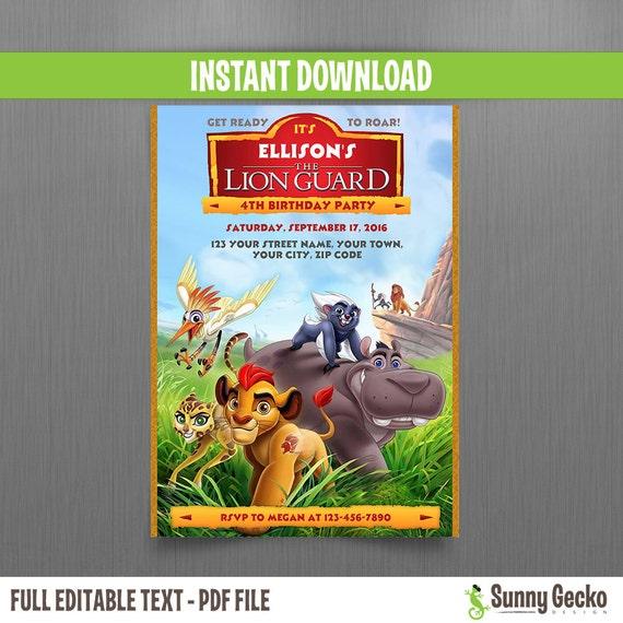 Disney the lion guard birthday invitation instant download edit il570xn filmwisefo