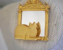 JJ Cat with Mirror Brooch Gold Tone