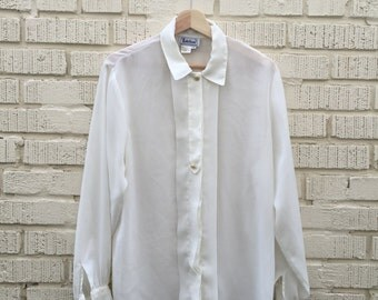 80s White Sheer Shirt. 1980s Long Sleeve Sheer Blouse. Button Up. Notations. Large. Size 12.
