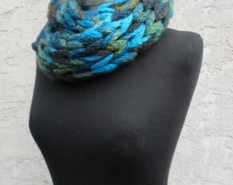 Hand Knit Bermuda Infinity Cowl Scarf!