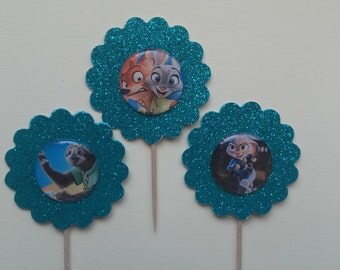 Zootopia Cupcake Toppers , Flash Cupcake Toppers, Judy Cupcake Toppers, Nick Cupcake Toppers, Cupcake Toppers