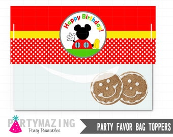 Mickey Treat Bag Tags, Mickey Mouse Printable PDF, Printable Party Favor Bag Topper , Instant download D565 HBMC1