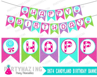 Candyland Printable Banner, DIY Happy Birthday, Decoration Banner, Candy Swirl Lolipop Banner, Instant download D674 HBCL1