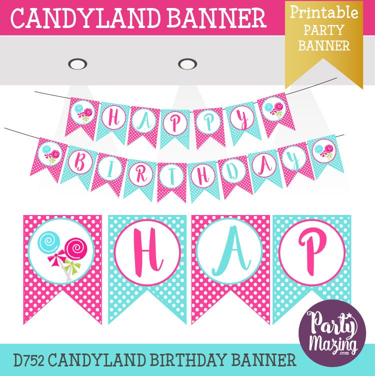 Candyland Banner Lollipop Hot Pink And Blue By Partymazing