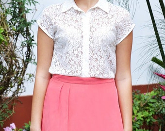 In Bloom Spring Floral Lace Collared Button Up Blouse Top White S M