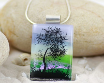 Fused Glass  Pendant - Dichroic Glass Pendant with Windswept Tree - Fused Glass Jewellery - Dichroic Jewelry - Fused Glass Jewelry.  JBT331