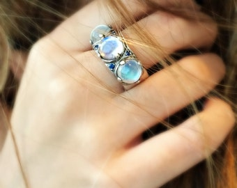 Moonstone ring, Sterling silver ring with stones, Women ring, Stones ring, Statement ring, Energy ring, Fancy ring, Designer ring, Big ring
