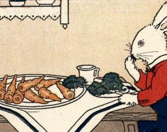 Vintage children's reading book art illustration bunny rabbit carrots lettuce table digital download printable instant image