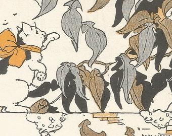 Vintage children's book art illustration cat playing with leaves birdhouse digital download printable instant image