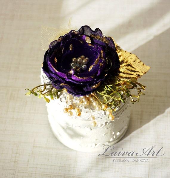 Wedding Ring Bearer Pillow Box Eggplant Wedding Purple Wedding