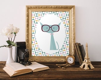 Cat Print 8x10 Instant Download Nursery Cat Printable Art Kitten Print Nerdy Cat Kid's Room Decor Cat with Glasses Teal Nursery Decor Teen