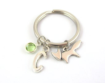 Fox Keychain- choose a birthstone and initial, Fox Keyring, Fox Gift, Silver Fox Charm, Silver Fox Keyring, Personalized Fox, Birthstone Fox
