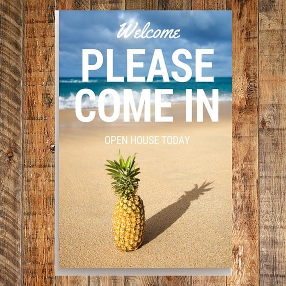 Welcome To Our Beach House Sign: Real Estate Open House Welcome Sign Beach Theme Real Estate