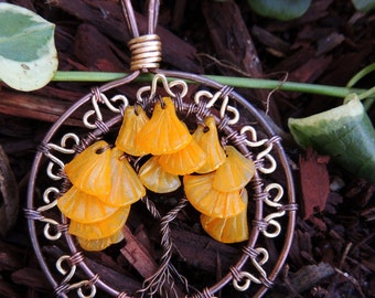 Yellow Ginkgo Maidenhair Tree of Life Pendant Ornament