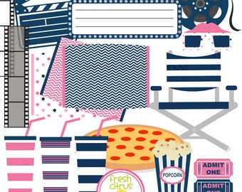 Movie Clip Art  Pizza Popcorn Pillow Slumber Party Clip Art Pink and Navy