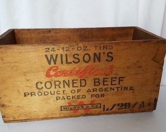 Vintage Wood Shipping Crate Wilson's Corned Beef Tins