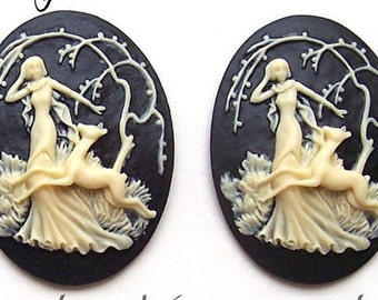 2 Ivory Color Mythological Diana the Huntress with Deer on Black 40mm x 30mm Resin Cameos Lot for Making Costume Jewelry