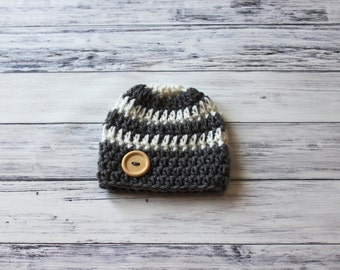 Crochet Baby Hat, Striped Boy Hat, Baby Boy Hat, Baby Boy Hat Crochet, Crochet Newborn Hat, Newborn Hat for Boy, Boy Newborn Photo