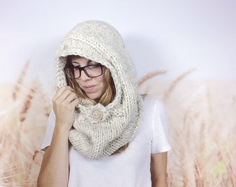 Adult Sized Chunky Knit Oversized Hooded Cowl Scarf Bear Snood Knitted Hoodie Scarf Scoodie Cowl - {WHEAT}