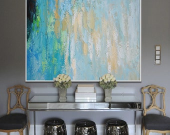 Contemporary Wall Art, Large Art Abstract Painting, Modern Wall Decor. Original and Handmade. Green, blue, yellow, beige.