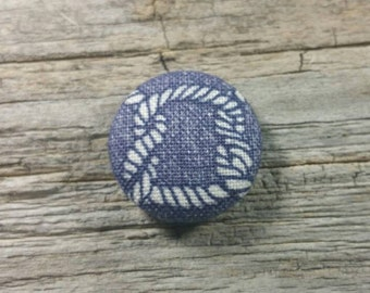 Nautical rope knot print fabric covered buttons (size 60, 40, 32)
