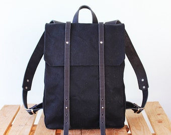 Waxed Canvas Backpack with black leather details for woman and man, Waxed Canvas Rucksack for man, black