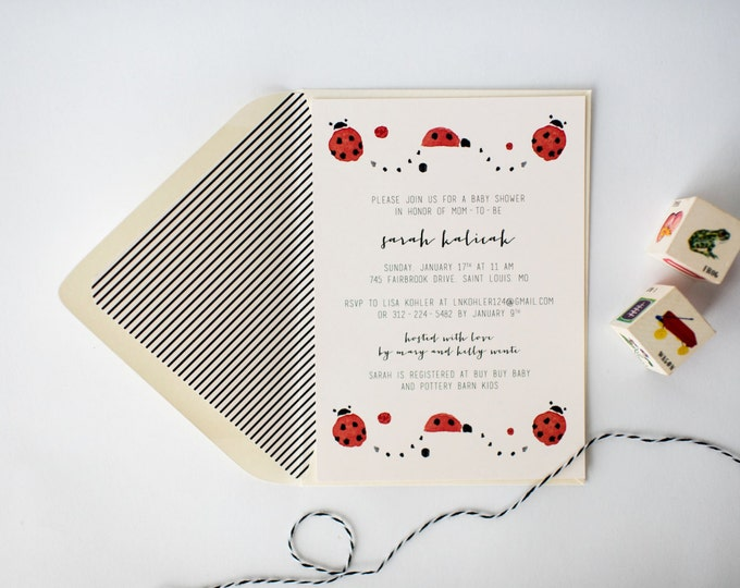 lady bug baby shower invitation  (sets of 10)  //  lola louie paperie