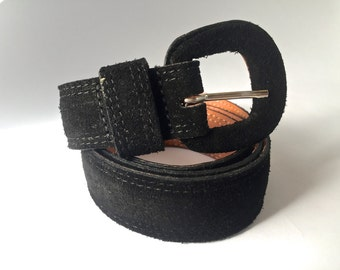 Black Leather Suede Belt Size Medium by Gap