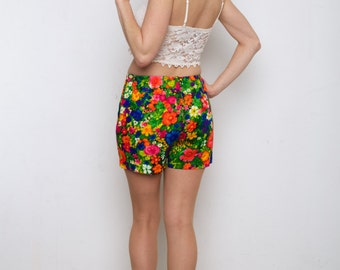 Vintage 1960's-70's  high waisted Bright Floral/Summer/Spring Shorts