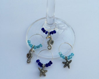 Seaside Wine Charms, Starfish and Seahorses - Set of 4 Nautical Theme