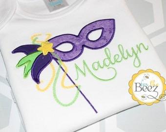Mardi Gras Shirt, Girls Mardi Gras Shirt, Mask Shirt, Mardi Gras Mask Shirt, 1st Mardi Gras, Fat Tuesday Shirt, Personalized Shirt