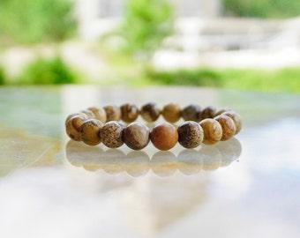 Picture Jasper Bracelet,Beaded Bracelet,Brown Bracelet,Gemstone Jewelry,Gemstone Bracelet, Jasper Bracelet, Stone Bracelet