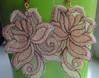 Large Floral Fabric Earrings - Various Designs