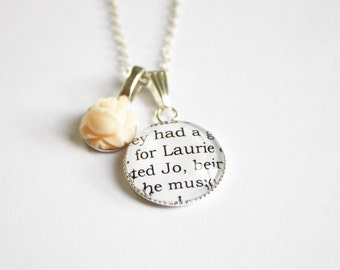 Little Women page necklace. Louisa May Alcott. Jo March. Laurie Lawrence. Meg, beth, Amy. Booklovers. Literature