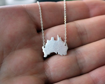 Australia Necklace-Australia Pendant-Australia Continent Silver Necklace-Australia Sterling Necklace-Australia Jewelry