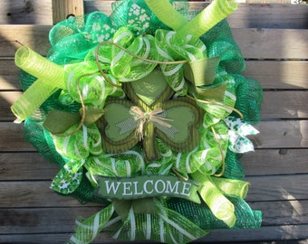 """24"""" St. Patrick's Day Welcome Wreath St. Patrick's Day Deco Mesh Wreath Green Shamrock Wreath St. Patrick's Day Door Decor Welcome Wreath"""