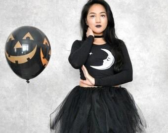 Bewitched Black Mesh Tulle Halloween Tutu Mini Skirt