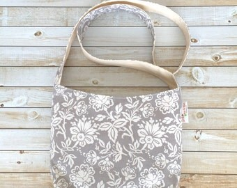 Small Crossbody Bag in Grey Floral Print