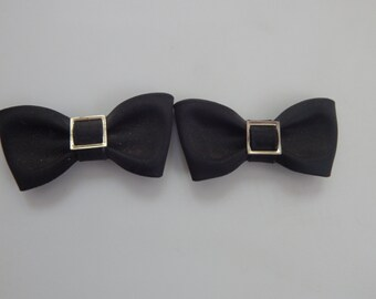 Vintage Black Bow Shoe Clips Black Ribbon Bow Shoe Clips With Silver Tone Metal Design
