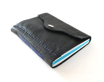 Little Leather Travel Journal - Thin Blue Line, Black Longstitch Journal with Blue and White Paper, Snap Clasp, Unlined Notebook, Gift