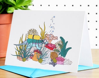 DISCONTINUED - Dinosaur Greeting Card, Scuba Diving, thank you cards, illustrated cards, dinosaur card, swimming, thank you note, coral reef