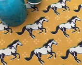 Mustangs Dish Drying Mat, Baby Bottles Pad, Rack, Broncos Ponies Horses, Turquoise Kitchen Towel, Aqua Blue, Women Makeup Cosmetic Mat