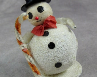 White Mica Glitter Snowman Japan Vintage Mid-Century - Putz Cardboard - Christmas Snow Santa